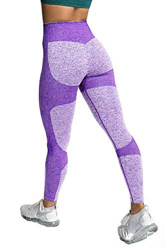 Memoryee Pantaloni da yoga elasticizzati a vita alta da donna Leggings da allenamento per il controllo della pancia Collant skinny a compressione/Purple/S