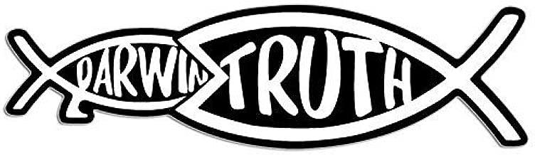 GHaynes Distributing Christian Truth Eating Darwin Fish Shaped Sticker Decal (jesus christ intelligent design god) Size: 2 x 7 inch