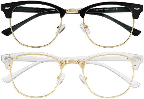 AIMISUV Blue Light Blocking Glasses Women Men Retro Half Frame Anti Eyestrain Computer Gaming product image