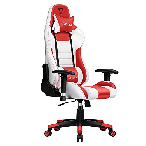 Furgle Gaming Chair Racing Style High-Back Office Chair w/3D Adjustable Armrests PU Leather Executive Ergonomic Swivel Video Game Chairs with Headrest and Lumbar Support (White & Red) chair gaming white