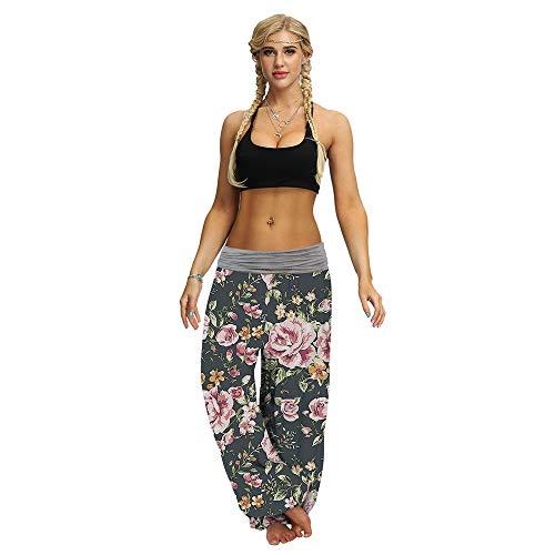 Oukeep Damen Blumendigitaldruck Damenhosen Spleißen Lose Taille Freizeithose Sport Yoga Bloomers Geeignet Für Freizeit- Und Yoga-Sportarten