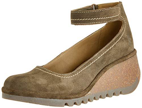 FLY London Name194fly, Zapatos con Tacon y Correa de Tobillo para Mujer, Verde (Sludge 001), 35 EU