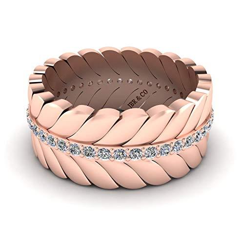 Jbr - Elegante anillo de boda con hoja de Chanel en plata de ley con banda pulida para expresar tu amor
