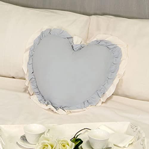Cojín Decorativo en Forma de Corazón con Volantes, Almohada Decorativa, Funda de Cojín, Cojín con Relleno Romántico Rústico Shabby Chic - Volantes - 50x45 - Azul Polvo/Marfil