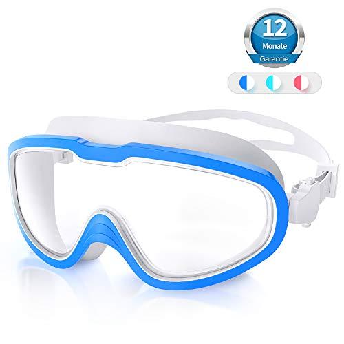 QcoQce Gafas de natación unisex, lentes ajustables, correa con protección UV y antiniebla, gafas de buceo para adultos y niños, con tapones para los oídos y pinzas para la nariz (blanco azul)
