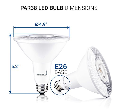 Hyperikon PAR38 LED Bulb, 100 Watt (14W), Dimmable Flood Light, E26 Base, 2700K, CRI90, UL, Energy Star, 6 Pack