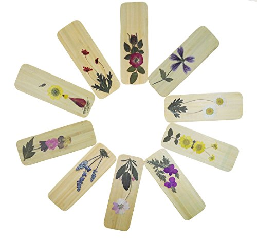 10 Pcs Handmade Bamboo Dried Flowers Chinese Style Bookmarks for Kids School Study Decoration Souvenirs Business Christmas Birthday Gift