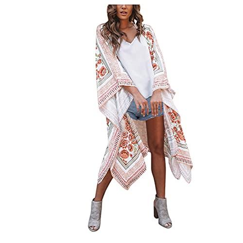 TGTB Moda Mujer Casual Bohemia Playa Estilo Flor Impreso Sunscreen Cardigan Suelto Posicionamiento Impresión Gasa Blusa