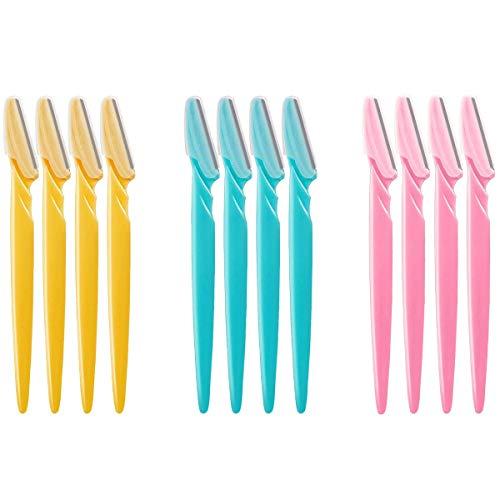 Rasoir à sourcils, 12 packs d'outils de maquillage portables pour rasoir pour le visage (rose, bleu ciel et jaune)