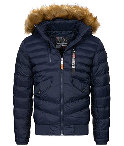 Geographical Norway H 247 Mens Winter Jacket Quilted Jacket with Faux Fur Collar Blue Large