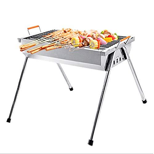 QIAOLI Barbacoa parrilla de carbón de leña, de acero inoxidable, plegable, portátil, ligero, herramientas para cocinar al aire libre, camping, senderismo, picnic, barbacoas de carbón