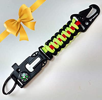 PREP2GO Paracord Survival Keychain-Compass Whistle Firestarter Kit-Cool Gadget Gifts for Husband Dad Men Him or Her-Camping Hiking Hunting-Mom,Teen Girl Boy Scout Can Get Fire & Shelter in Emergency! from Prep2Go