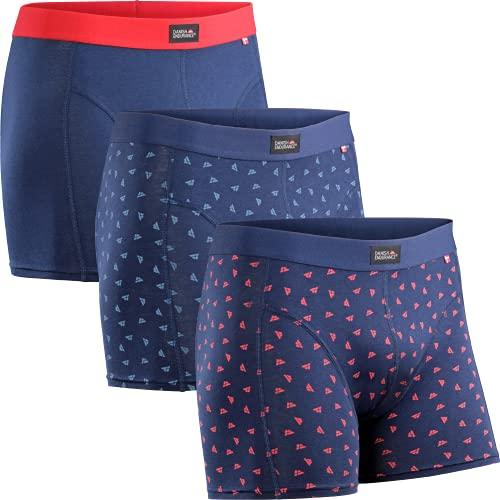 Herren Boxershorts, 3er Pack Classic Unterhosen aus weicher Baumwolle, Retroshorts, Cotton Essential, Schwarz, Grau, Blau (Mehrfarbig (1x Blau/Rot, 1x Blaues Logo, 1x Rotes Logo), x_l)