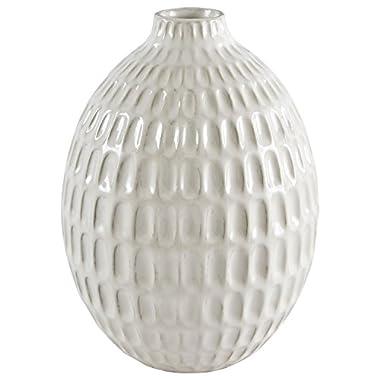Stone & Beam Modern Oval Pattern Stoneware Vase, 8.75  H, Off-White