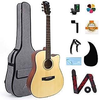 AKLOT Acoustic Guitar Full Size 41'' Spruce Cutaway Guitar Bundle for Students Kids Beginners W/Gig Bag Tuner Strap Picks ...