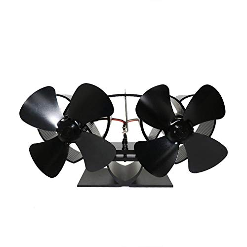 TARTIERY Mini ventilador de estufa de 8 cuchillas de funcionamiento silencioso, ventilador de chimenea, ventilador de chimenea de tamaño pequeño para chimenea, madera/quemador de combustible multi