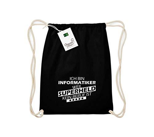 Shirtstown Organic Gymsac Ich Bin Informatiker, Weil Superheld kein Beruf ist, schwarz