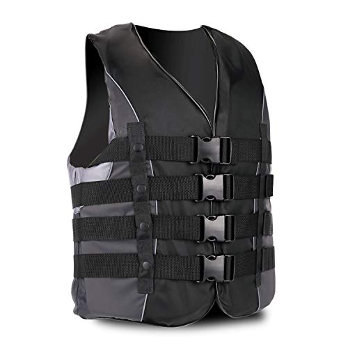 XGEAR Adult USCG Life Jacket Vest Water Sports (Black, 3XL)