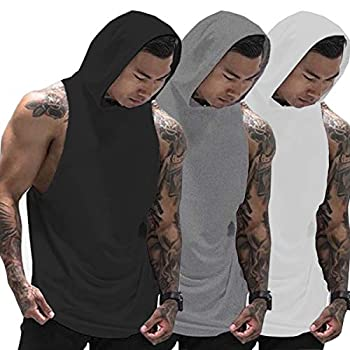 Muscle Killer 3 Pack Men s Workout Hooded Tank Tops Bodybuilding Muscle Cut Off T Shirt Sleeveless Gym Hoodies  Black+Gray+White Medium