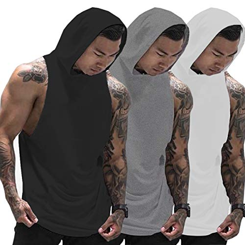 Muscle Killer 3 Pack Men's Workout Hooded Tank Tops Bodybuilding Muscle Cut Off T Shirt Sleeveless Gym Hoodies (Black+Gray+White, X-Large)