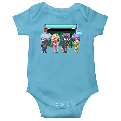 OKIWOKI Naruto Lustiges Blau Kurzärmeliger Baby-Bodysuit (Jungen) - Kakashi (Naruto Parodie signiert Hochwertiges Baby-Bodysuit in Größe 12 monate - Ref : 1182)