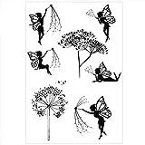 Fairy Clear Stamps - Sellos elegantes con texto en inglés 'Fairy Dandelion', para la fabricación de tarjetas y scrapbooking DIY