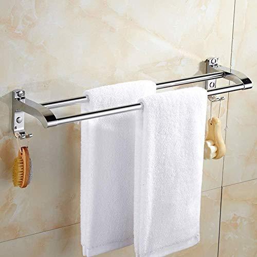 Barras de Toallas 304 Montaje de Pared de Acero Inoxidable Toalla de Toalla Extensión Doble Polo Bold Toaller Rail para baño Oficina de cocina-A-40 cm (16 Pulgadas) Incomparable