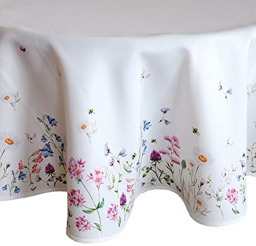 matches21 HOME & HOBBY tafelkleed tafel linnen delicate weide bloemen - print kleurrijk voor keuken & tafel rond Ø 130 cm