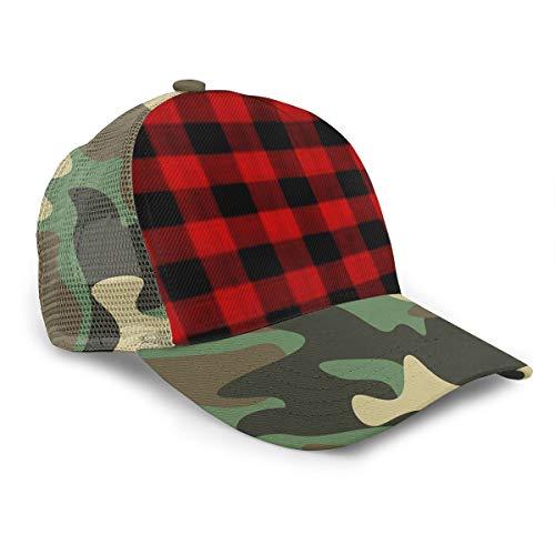 Baseball Hat Mesh Trucker Style Hat Cap Camping Hat Red Black Buffalo Check Plaid Pattern
