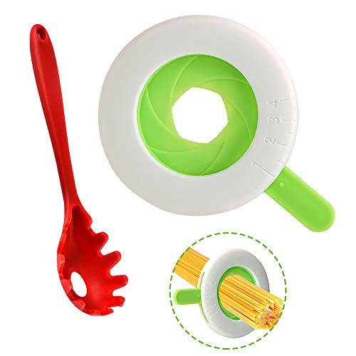Plieren Spaghetti Noodle Measurer and Spaghetti Spoon Server Set,Adjustable Pasta Measurer for Pasta Noodle Kitchen Cooking Supplies with Comfortable Grip