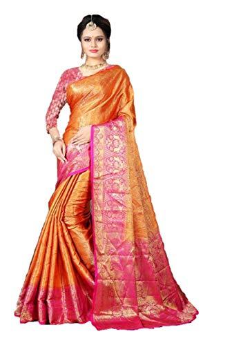 RAJ SHREE FASHION Frauen Banarasi Silk Saree indische Hochzeit ethnischen Sari & Unstitch Bluse Stück Sari De9