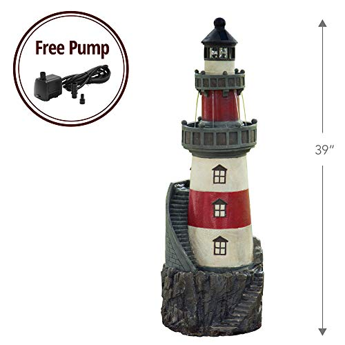 Peaktop VFD8185 Statue Fountains Peaktop-VFD8185 Outdoor, Rotating Solar Powered Light House, 39', Red/White/Grey