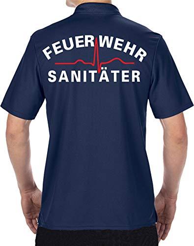 feuer1 Polo Fonctionnel Navy, Pompiers sanitaires, Blanc/Rouge XL Bleu Marine