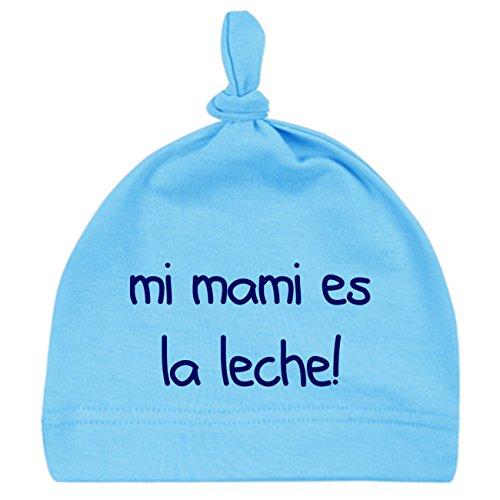 ClickInk Gorro bebé Unisex Mi Mami es la Leche! Gorro recién Nacido, de 0 a 3 Meses. Gorro Divertido y Original. Friki.