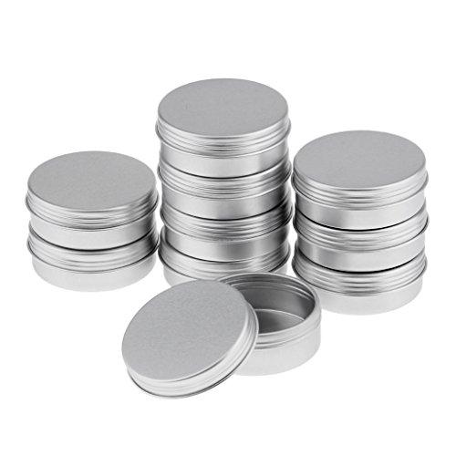 Hellery Kit de 5pcs Vide Pots de Voyage en Aluminium Conteneurs Cosmétiques Rondes pour Baume Bougie Stockage - argent, 25ml 10pcs