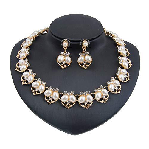Yddxy Conjunto de Pendientes de Collar de Perlas para Mujer Conjunto de joyería de aleación de Diamantes de imitación chapados en Oro de Boda de Moda (Pendiente + Collar)