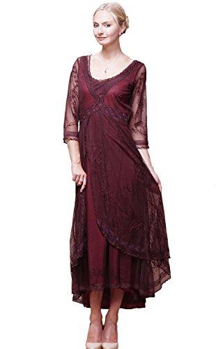 Nataya 40163 Vestido de Novia de Estilo Vintage Downton Abbey para Mujer en rubí (2X)