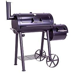 Nexos BBQ Grill Smoker Grillwagen Holzkohlegrill 2 Kammern Barbecue 112 x 55 x 1165 cm, 22 kg, Transporträder Temperaturanzeige Stahl Lüftungsklappen Grillfläche 54x30 cm