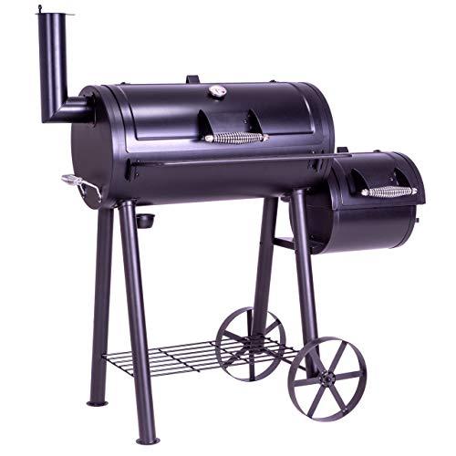 Nexos BBQ Grill Smoker Grillwagen Holzkohlegrill 2 Kammern Barbecue 125x60x120 cm 28 kg Transporträder Temperaturanzeige Stahlblech Lüftungsklappen Ablageflächen