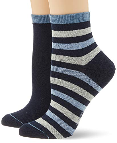 ESPRIT Damen Socken Colorful Stripe 2er Pack - Baumwollmischung, 2 Paar, Blau (Marine 6120), Größe: 39-42