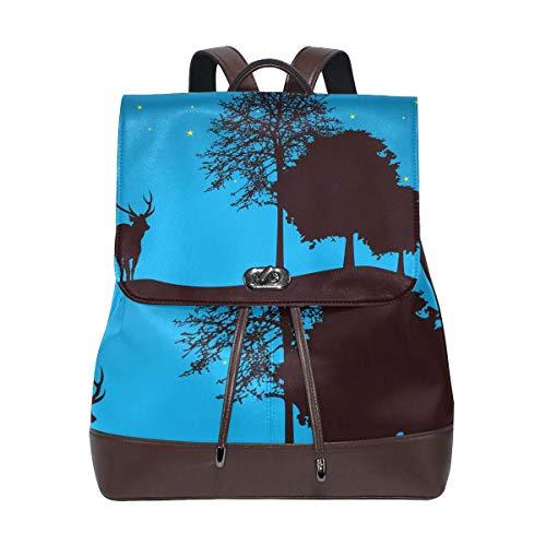 Zaino scuola,Trees Night by Dragonart Travel Backpack Leather Handbag School Pack