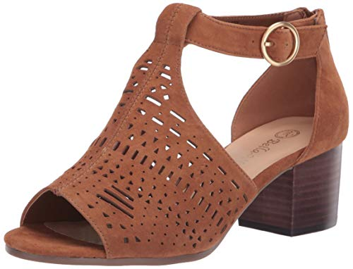 Bella Vita Women's Finn Cutout Sandal with Back Zipper Shoe, Biscuit Kidsuede Leather, 9.5 M US