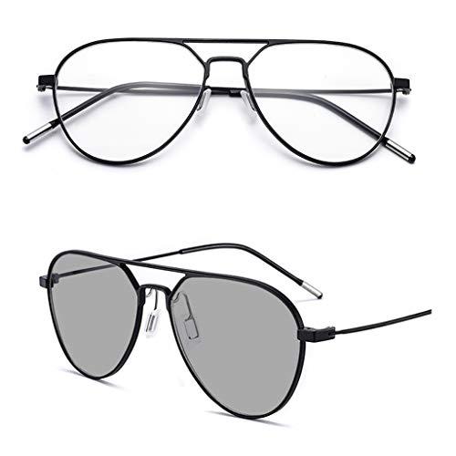 WILK Intelligent Zoom Automatische kleurwisselbril, hoge resolutie, ultralichte verrekijker/dual usbril (goud/zwart, kleurveranderende glazen)