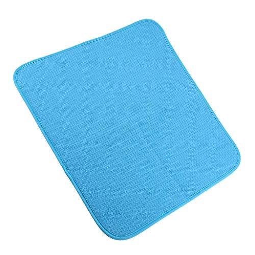 Saugfähige, wendbare Mikrofaser-Abtropfmatte und Schutz für Küchenarbeitsplatten, Spüle, Tischmatten Dekoration, einfach zu verstauen – Violett, 40,5 x 45,5 cm, blau