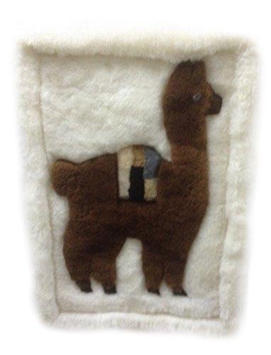 Alpacaandmore weißer original peruanischer Alpaka Fellteppich Wohnzimmer Teppich dunkelbraunes...