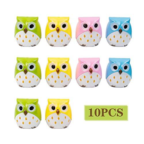 AUEAR, 10 Pcs Cartoon Animal Owl Dual Hole Pencil Sharpener School Supplies for Kids