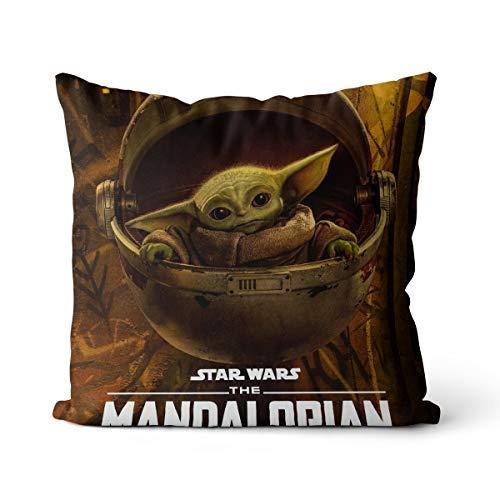 Almohada Decorativa Maciza Mandalorian Star Wars Almohada Suave Almohada para niños Cojín Cuadrado sólido Decorativo para el hogar 45x45cm, con Relleno