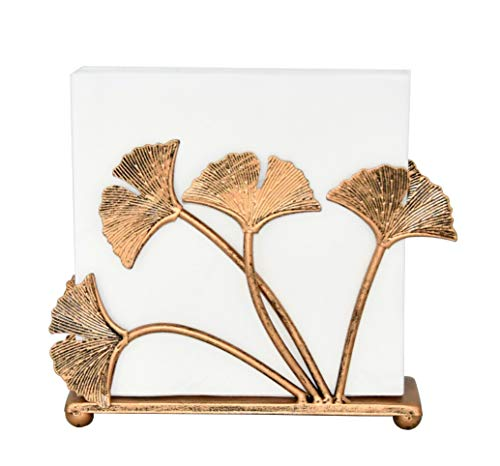 Servilletero de metal con hojas de ginkgo para mesas, dispensador independiente de pañuelos de mesa, soporte dispensador de servilletas de madera, bronce