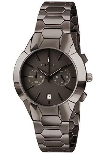 BREIL - Damenkollektion Armbanduhr New ONE TW1851 - Wasserdichter Damen Chronograph - Edelstahlarmbanduhr - Schwarzes Zifferblatt und Edelstahlarmband