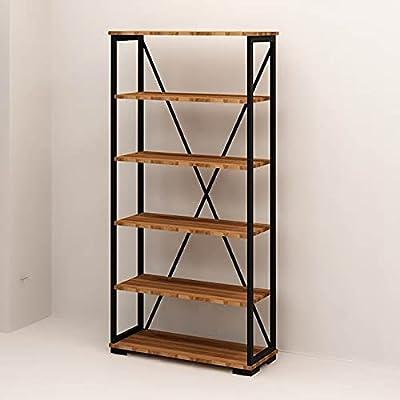 Homemania Bibliothèque Ultimo-avec Étagère-pour Mur, Bureau, Studio, Salon-Noyer, Noir en Bois, Métal, 81 X 30 X 162cm, Penneau de Particules